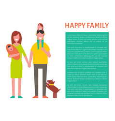 happy family parents poster vector image