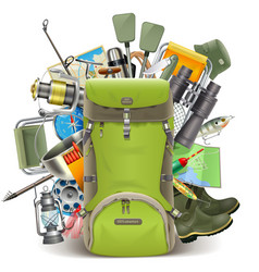 Haversack with Fishing Tackle vector