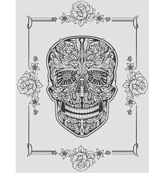 Human skull made flowers vector