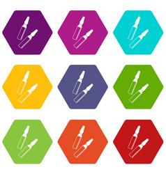 iodine sticks icon set color hexahedron vector image