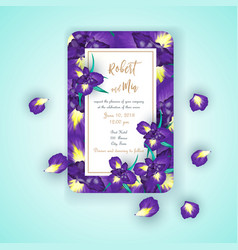 Iris flower wedding invitation card vector