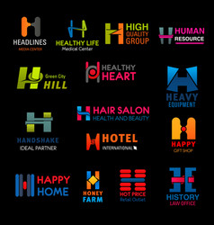letter h business icons corporate identity vector image