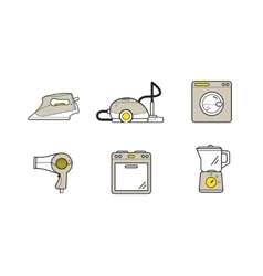 Line icons of home appliances household devices vector image