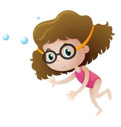 Little girl diving underwater vector