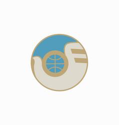 logo globe and dove world vector image