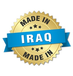 Made in Iraq gold badge with blue ribbon vector