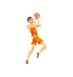 Male volleyball player sportsman character vector