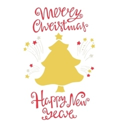 Merry Christmas and happy new year handdrawn vector