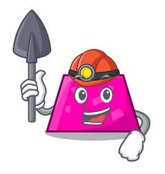 Miner trapezoid mascot cartoon style vector