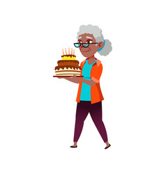Old african lady carrying birthday cake on party vector