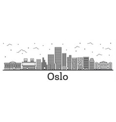 Outline oslo norway city skyline with modern vector