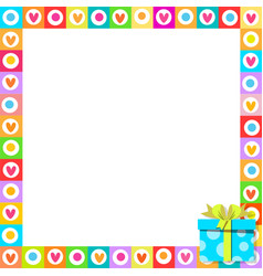 photo frame made of cute hearts with blue wrapped vector image