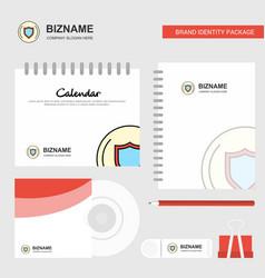 Protected sheild logo calendar template cd cover vector