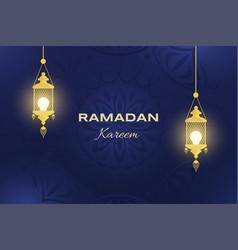 Ramadan kareem flat banner template arabic and vector