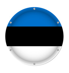 round metallic flag of estonia with screws vector image