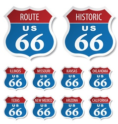 route 66 colored stickers vector image
