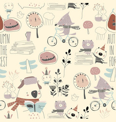 Seamless pattern with cute animals in autumn vector