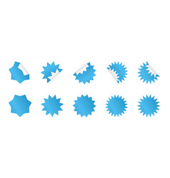 set blue sunburst sticker starburst badges vector image