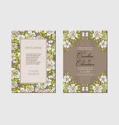 set card with simple fantasy small flowers vector image