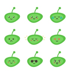 Set collection of cute green little aliens vector