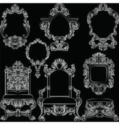 Set of Baroque Vintage Decoration Furniture vector
