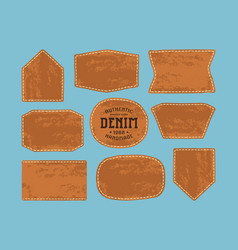set of leather patch for denim clothing vector image