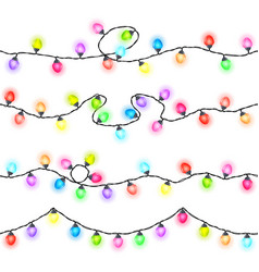 Set of seamless festive glowing garlands vector