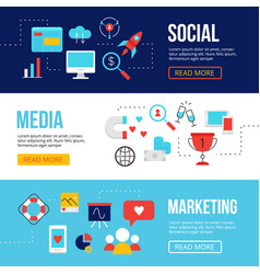 Social media marketing web banners templates vector
