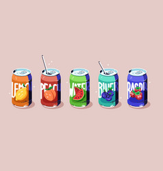 soda cans set cold fruit drinks various flavors vector image