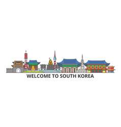 South korea outline skyline korean flat thin line vector