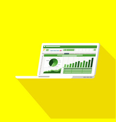 Spreadsheet on laptop screen flat icon financial vector