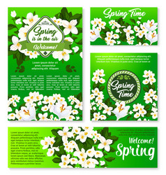 Spring floral template for card and banner design vector