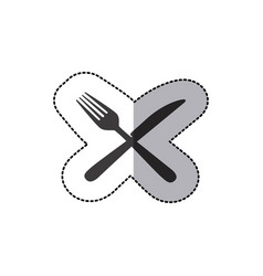 sticker silhouette knife and fork icon vector image