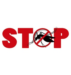 Stop sign with mosquito vector