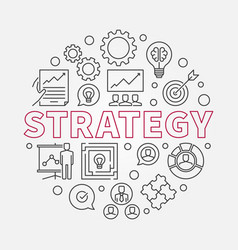 Strategy round in thin line vector