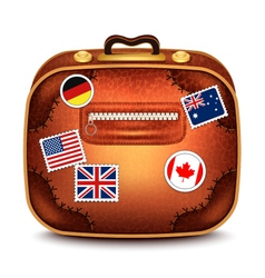 Suitcase With Stamps vector image