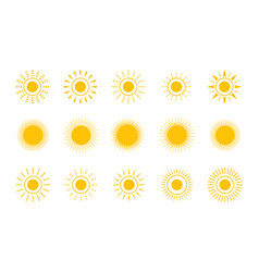 sun shapes icon set stock vector image