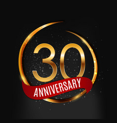Template gold logo 30 years anniversary with red vector