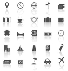 Travel icons with reflect on white background vector image
