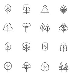 tree thin line icons set collection vector image