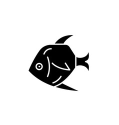 tropical fish black icon sign on isolated vector image
