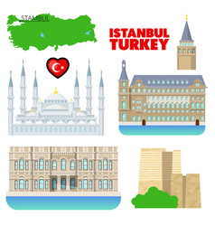 Turkey istanbul travel set with architecture vector