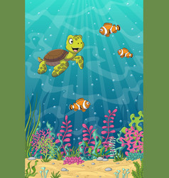 Turtle and clown fish vector