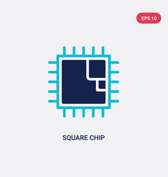 Two color square chip icon from computer concept vector