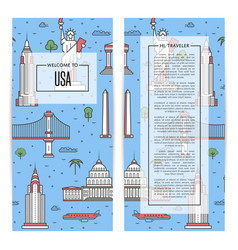 usa traveling flyers set in linear style vector image
