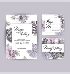 wedding invitation anemone invite card design vector image