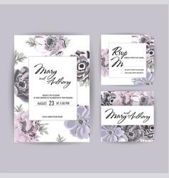 wedding invitation anemone invite card design vector image