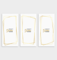 White banner with golden geometric line frames vector