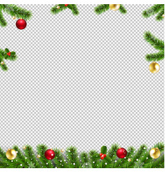 xmas garlands with fir tree and christmas toys vector image