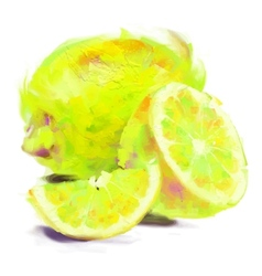 drawing lemon with a slice vector image vector image